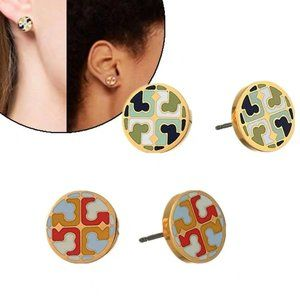 Tory Burch Colorful Enamel Glaze Logo Earrings
